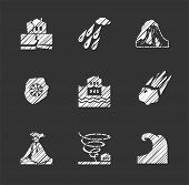 Weather, Natural Disasters, Flat Icons, Hatching, Vector. Images Of Various Natural Disasters. Vecto poster