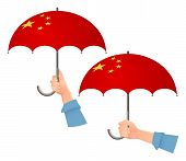 China Flag Umbrella. Social Security Concept. National Flag Of China Vector Illustration poster