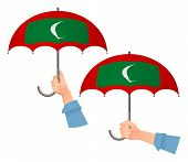 Maldives Flag Umbrella. Social Security Concept. National Flag Of Maldives Vector Illustration poster