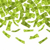 Money Rain. Falling Dollars Banknotes, Finances Luck Currency Rain, Flying Cash. Jackpot Win, Income poster