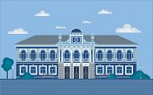 Classical Palace In The Baroque Style. Flat Design Isolated On White. Villa In A Classic Style. Hist poster