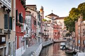 Venice, Italy. Grand Canal and historic tenements. Beautiful view of Grand Canal and multicoloured o poster