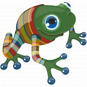 Cartoon Blue Eyed Funny Frog With Bright Nails In Striped Suit poster