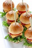 stock photo of nibbling  - mini hamburgers - JPG