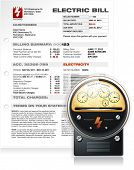 stock photo of hydro-electric  - Detailed Electric Bill with Realistic Electric Counter Vector - JPG