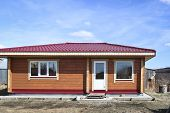 New Country House, Bathhouse. Completion Of Construction. Country Wooden House In The Village. poster