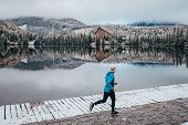 Running In Winter, Sport Photo, Beautiful White Nature, Active Man Train In Winter Morning poster