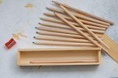 Wooden Pencil Case With Colour Pencils For Back To School poster