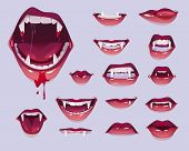 Vampire Mouth With Fangs Set. Closed, Open Female Red Lips With Long Pointed Canine Teeth And Bloody poster