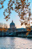 View On Siene River And Institut De France. Autumn City Paris, France. poster