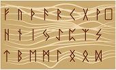 Set Of Old Norse Scandinavian Runes. Rune Alphabet. Occult Ancient Symbols poster