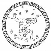 Steal The Golden Apples Of The Hesperides. Hercules Holds The Sky. 12 Labours Of Hercules Heracles.  poster