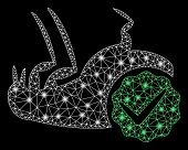 Glossy Mesh Flea Control With Glitter Effect. Abstract Illuminated Model Of Flea Control Icon. Shiny poster