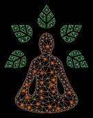 Flare Mesh Ioga Wellness With Glare Effect. Abstract Illuminated Model Of Ioga Wellness Icon. Shiny  poster