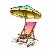 Deck Chair With Umbrella And Slippers Ink Vector. Relax Wooden And Fabric Chair, Parasol And Sneaker poster