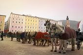 stock photo of hackney  - Horses and carriages are waiting for tourists - JPG