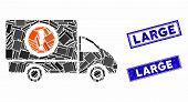 Mosaic Dangerous Truck Pictogram And Rectangular Large Watermarks. Flat Vector Dangerous Truck Mosai poster