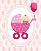 Newborn Baby, Girl, Postcard, Asia, Pink Rhombus, Vector. A Little Girl In A Pink Stroller. A Pink B poster