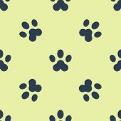 Blue Paw Print Icon Isolated Seamless Pattern On Yellow Background. Dog Or Cat Paw Print. Animal Tra poster