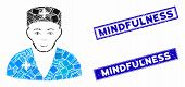 Mosaic Medic Icon And Rectangle Mindfulness Seal Stamps. Flat Vector Medic Mosaic Icon Of Scattered  poster