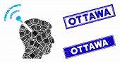 Mosaic Radio Neural Interface Pictogram And Rectangular Ottawa Rubber Prints. Flat Vector Radio Neur poster