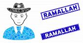 Mosaic Sheriff Pictogram And Rectangle Ramallah Seal Stamps. Flat Vector Sheriff Mosaic Pictogram Of poster