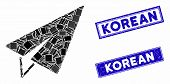 Mosaic Freelance Pictogram And Rectangular Korean Rubber Prints. Flat Vector Freelance Mosaic Pictog poster