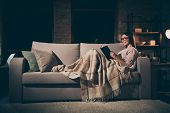 Profile Photo Of Homey Lady Read Exciting Historic Novel Interested Book Worm Sitting Couch Covered  poster