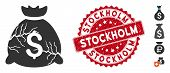Vector Corrupted Fund Icon And Rubber Round Stamp Seal With Stockholm Text. Flat Corrupted Fund Icon poster