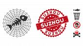 Vector Dead Fish Net Icon And Rubber Round Stamp Seal With Suzhou Phrase. Flat Dead Fish Net Icon Is poster