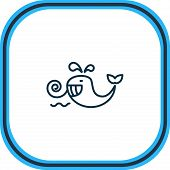 Illustration Of Cetacean Icon Line. Beautiful Sea Element Also Can Be Used As Baleen Whale Icon Elem poster