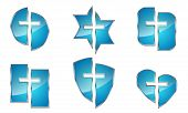 Set Of Blue Glossy Christian Symbols Isolated. Vector Illustration. Different Shapes Of Icons With C poster