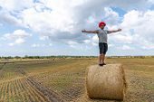 Happy Man In Grey T-shirt And Red Wig Stands With Wide Hands On The Round Haystack poster