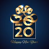 2020 New Year. Shiny Golden 2020 In Shape Of A Gift Box With Ribbon, Bow On Dark Background. Holiday poster