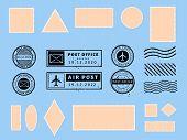 Postcard Stamp. Paper Postcards And Air Boarder Stamp Frames, Passport Visa International Arrived St poster