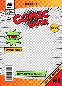 Comic Book Cover Page Template. Cartoon Pop Art Comic Book Title Poster, Superhero Comic Book Title  poster