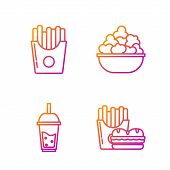 Set Line Burger And French Fries In Carton Package Box, Glass Of Lemonade With Drinking Straw, Potat poster