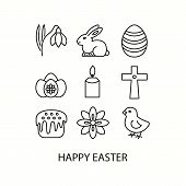 Easter Flat Line Icons Set. Christian Holiday Signs. Chocolate Rabbit, Colored Eggs, Flowers,  Candl poster