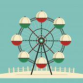 Amusement Park Ferris Wheel Flat Color Vector Icon. City Park Carousel Funfair Garden Leisure Entert poster