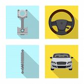 Vector Design Of Auto And Part Sign. Set Of Auto And Car Stock Vector Illustration. poster