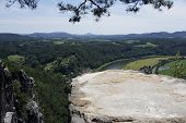 View Over The Tiedgestein In Saxon Switzerland, Germany And The Elbe River To Bohemian Switzerland,  poster