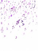 Red Flying Musical Notes Isolated On White Background. Cute Musical Notation Symphony Signs, Notes F poster