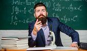 Educational Conversation. Talking To Students Or Pupils. School Teacher Concept. Teacher Bearded Man poster