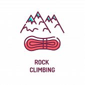 Rock Climbing Color Line Icon. Sport In Which Participants Climb Up, Down Or Across Natural Rock For poster