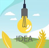Bulb On The Abstract Background With Idea Speech, Concept Of Big Ideas, Inspiration, Innovation, Inv poster