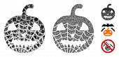 Old Halloween Pumpkin Icon Composition Of Unequal Items In Various Sizes And Color Hues, Based On Ol poster