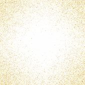Gold Sparkles Glitter Dust Metallic Confetti Vector Background. Glowing Golden Sparkling Background. poster