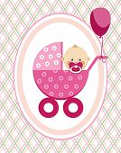 Baby, Girl, Postcard, Pink Lines, Rhombuses, Vector. A Little Girl In A Pink Stroller. A Pink Balloo poster