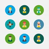 Profession Icons Set. Arab Worker And Profession Icons With Indian Worker, Teamwork And Manager. Set poster