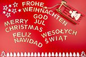 Inscription Merry Christmas In German, English, Polish, Swedish And Spanish, Lying Flat From Above.  poster